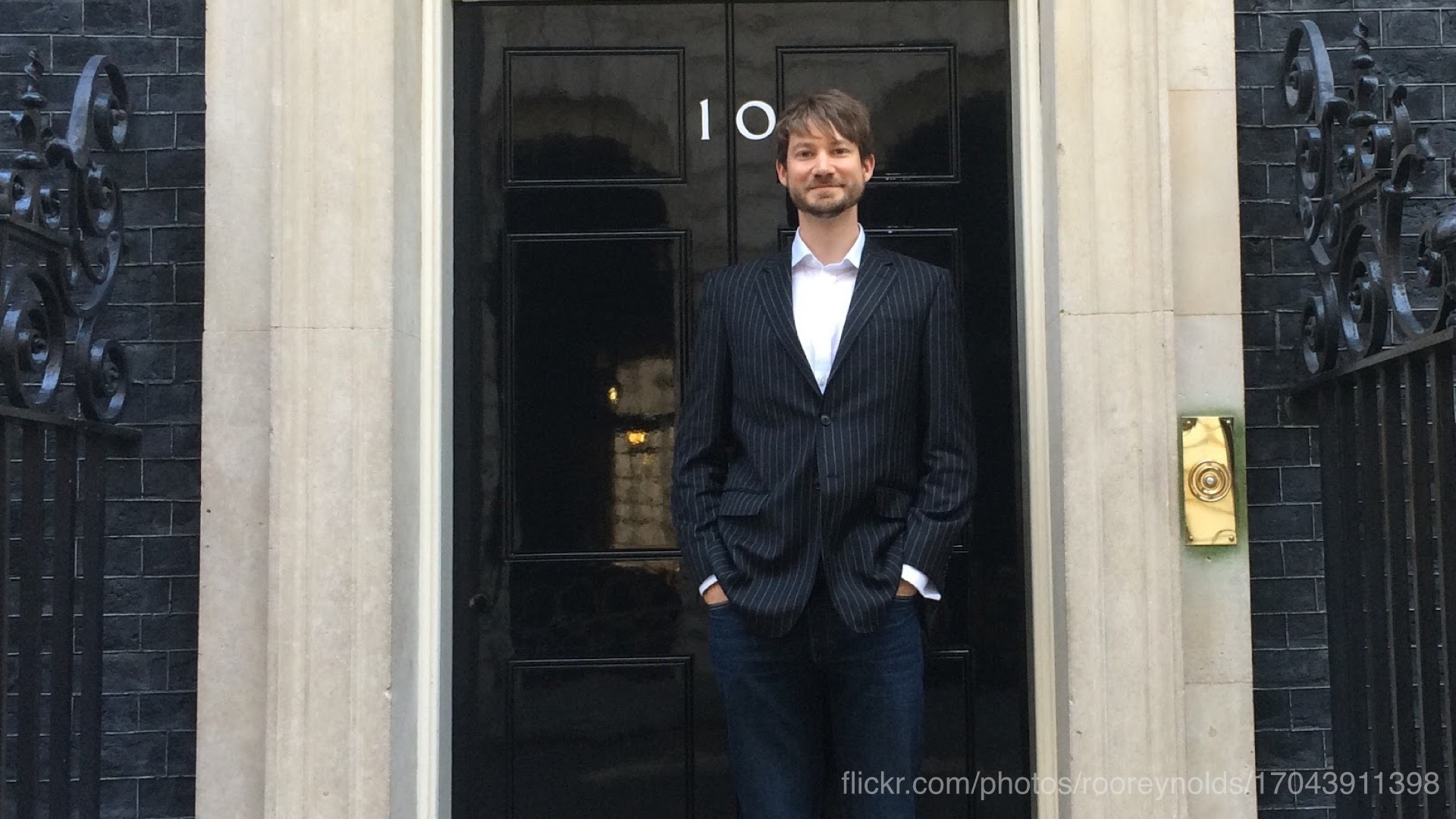 A photo of Roo standing outside Number 10 Downing Street