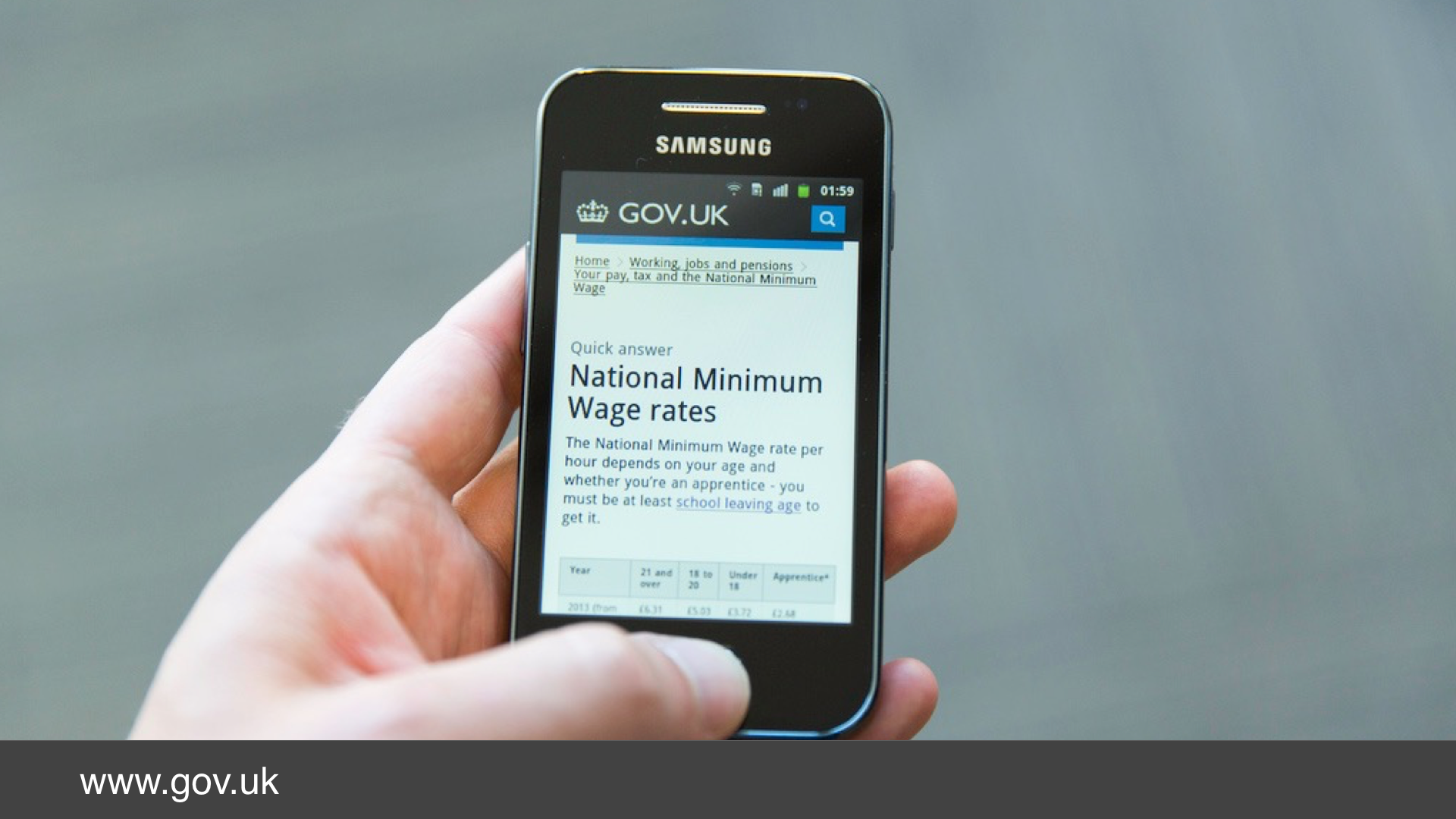 A photo of GOV.UK being used on a mobile phone