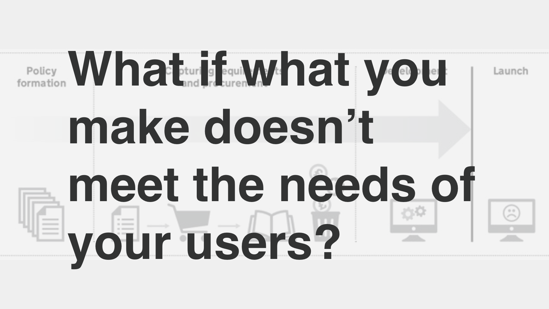 """What if what you make doesn't meet the needs of your users?"""