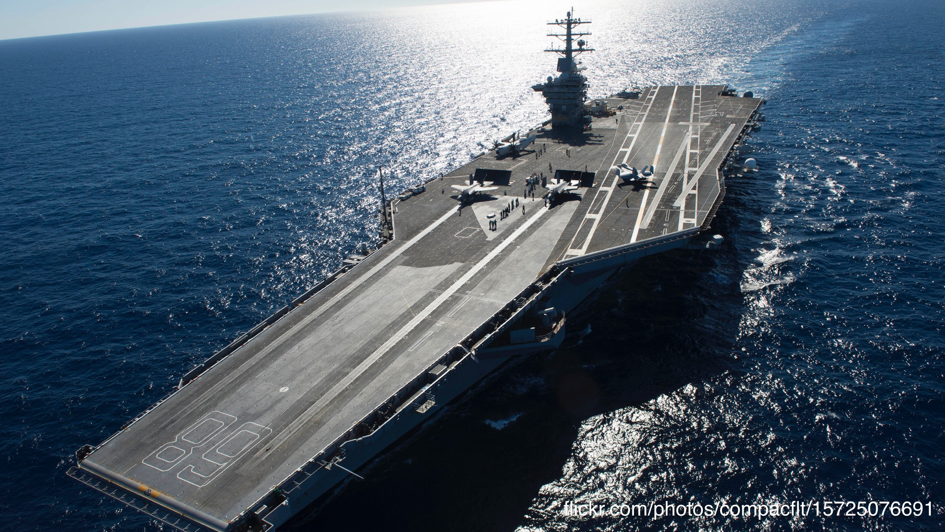 A photo of an aircraft carrier.