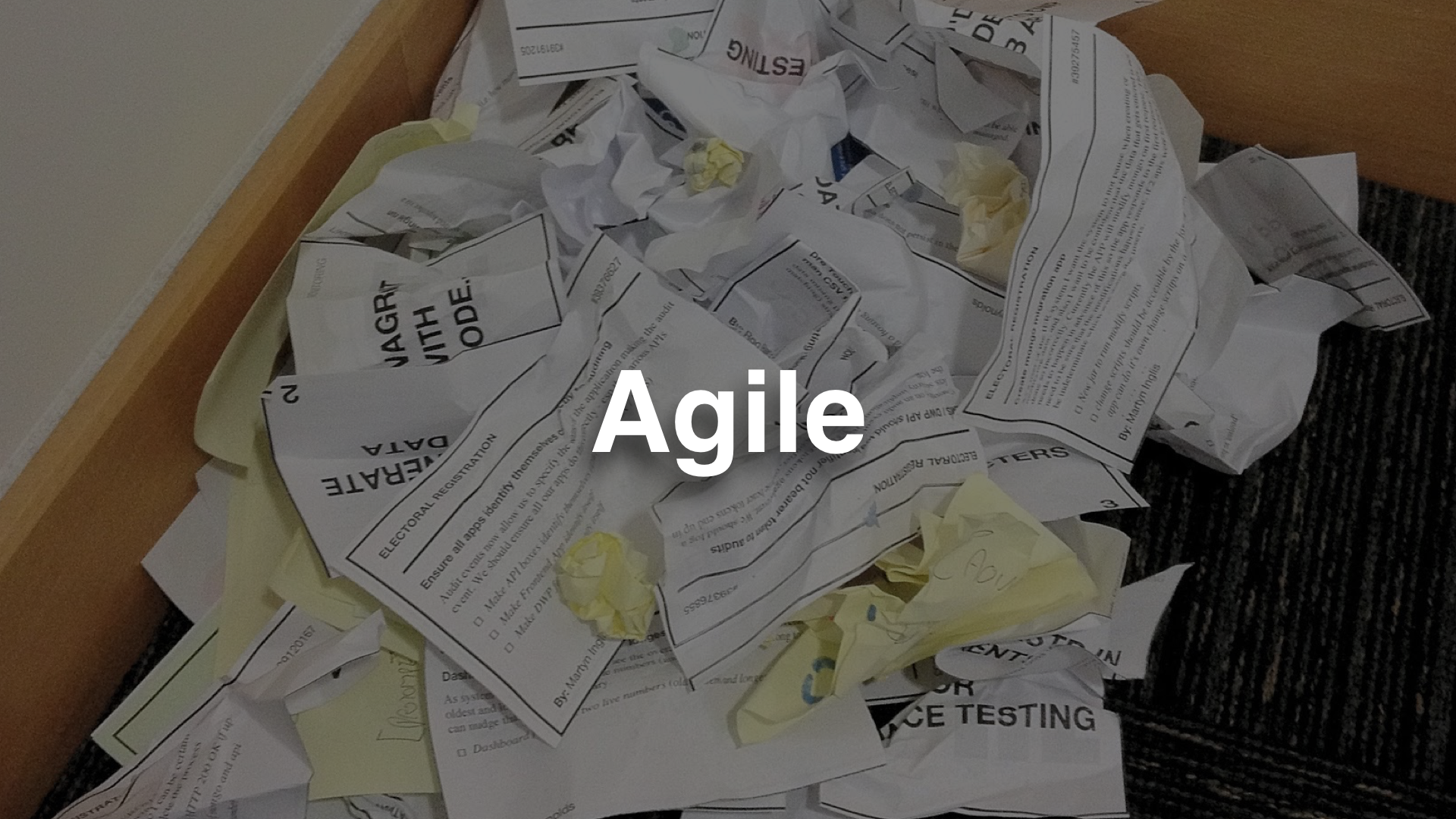 """agile"" - photo of a pile of screwed up and discarded paper"