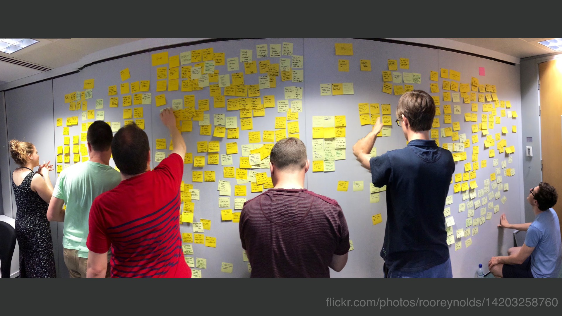 A photo of a team standing around a wall covered in post-it notes