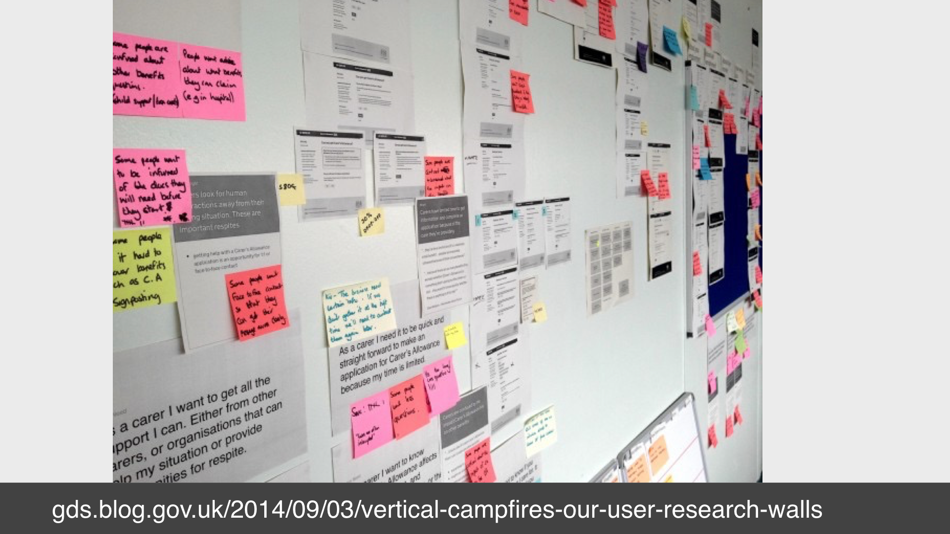 Photo of a wall covered with screenshots that have been annotated with post-it notes.